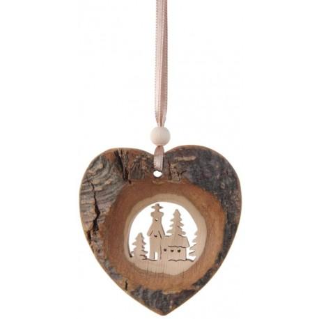 Cuore in legno naturale da appendere