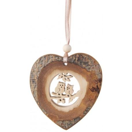 Rinde Hänger Herz aus Holz mit Eule