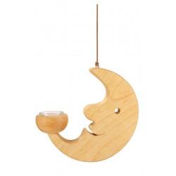 La luna sorride dolcemente scolpita in legno