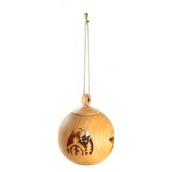 Sfere in legno natalizie finemente intagliate - Fornito con filo dorato, Val Gardena