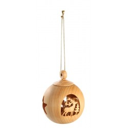 Sfere in legno natalizie finemente intagliate - Fornito con filo dorato, tendenze in legno, Ortisei