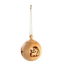Weihnachtskugel 6cm - Mit Goldfaden, Dolfi Weihnachtsdeko Holz selber machen, Schnitzereien Südtirol