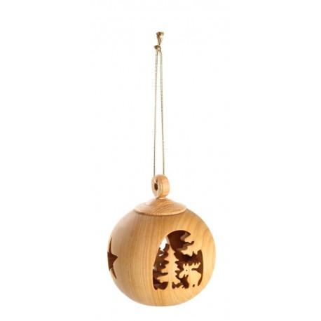 Sfere natalizie intagliate nel legno