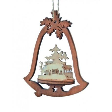 Addobbo natalizio campana di legno