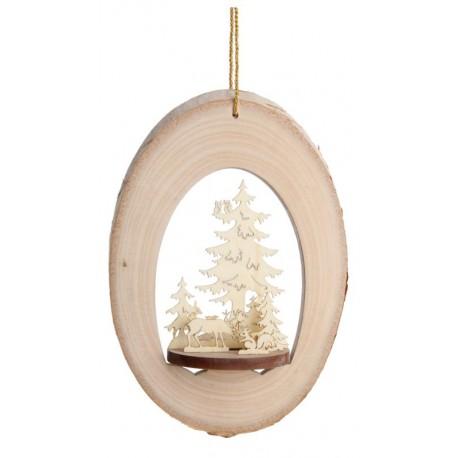 Addobbo per albero con motivo di legno