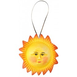 Sun carved in wood decoration - color