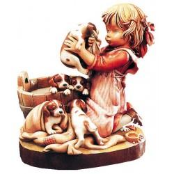 Cuccioli con statuina in legno
