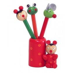 Porta matite colorato in legno - Dolfi giochi in legno per bambini, Val Gardena