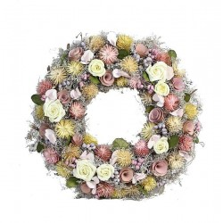 Summer Ornamental Wreath Made of wood Chip Roses and Forest Flowers in different Colors - Dolfi