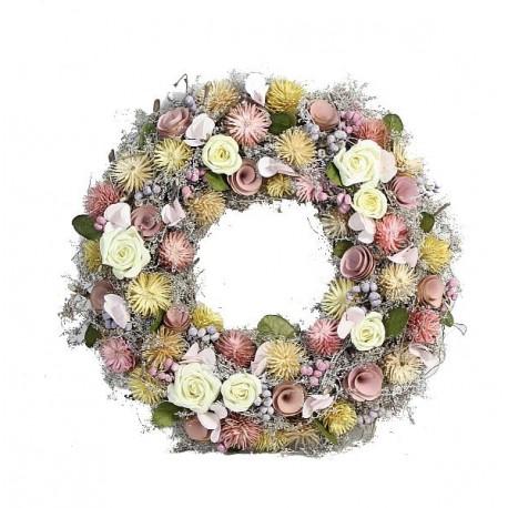 Ghirlanda con rose e fiori in legno