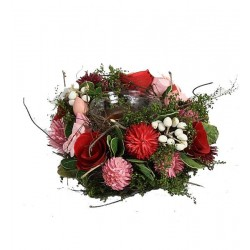Summer Tealight Holder Composed of Dry Flowers in Red Color 13Th Anniversary Gift - Made in Italy