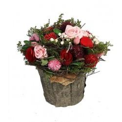 Blumen Komposition 18x18x18cm, Dolfi Deko Weihnachten, diese Kreation ist in Gröden hergestellt