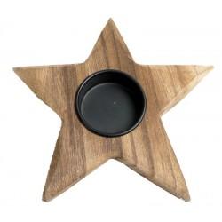Porta candela a stella in legno