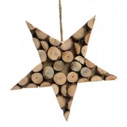 Stella scolpita con rondelle di legno