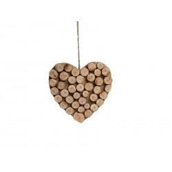 Cuore scolpito con rondelle di legno