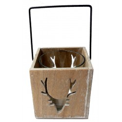 Wooden Candle Holder with Deer