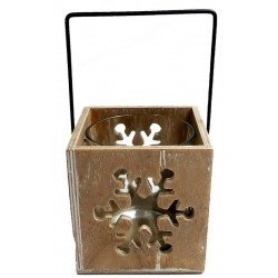 Wooden Candle Holder with a carved Snowflake - Dolfi best Wedding Gifts Ever - Made in Italy