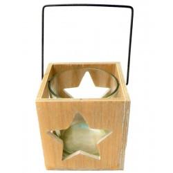 Porta candele scolpito con stella