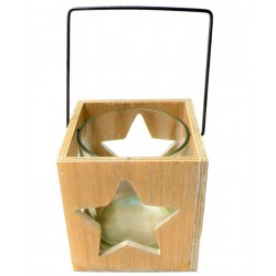 Wooden candle holder with a carved star