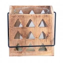 Porta candele scolpito in legno da tavola