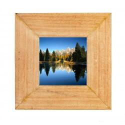 Portafoto in legno naturale misura 10 x 10 cm - idea regalo