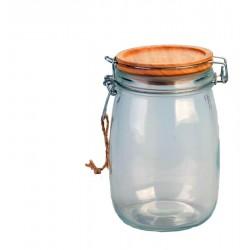 Contenitore in vetro con tappo ermetico in legno