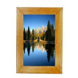 Porta foto finemente scolpito in legno naturale
