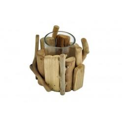 Porta candela scolpito in legno rustico