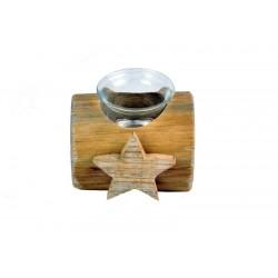 Porta candele in legno scolpito con cuori