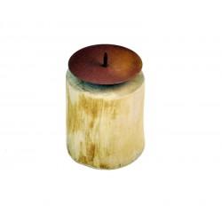 Porta candele in legno rustico naturale