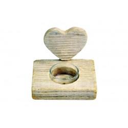 Porta candela a cuore in legno rustico