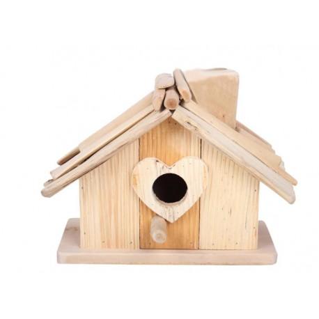 Casetta per uccellini con ingresso a cuore 27 cm x17 cm x19 cm