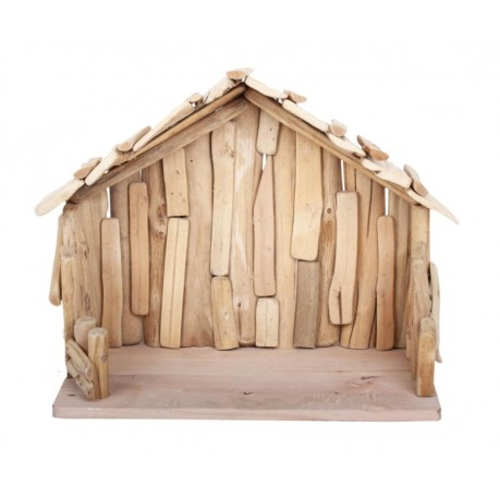 Hut in driftwood 40 x 20 x 30 cm for wood carved nice nativity scenes