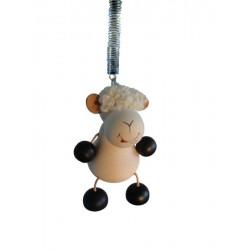 """Schaf aus Holz """"Hüpferlen"""" Schwingfigur mit Feder  - 12cm, Dolfi Geschenke für Oma aus Gröden"""