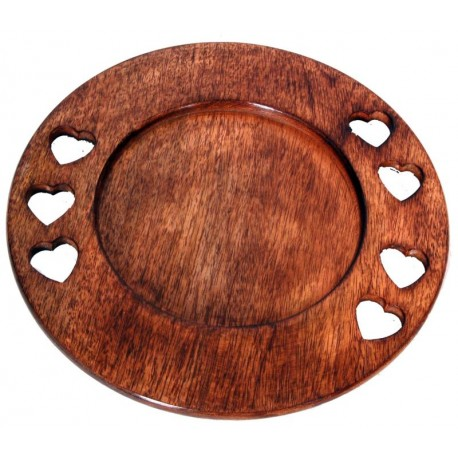 Decorative Plate in wood 13,2 X 13,2 inch