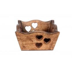 Walnuss Schüssel mit Herzchen 22 cm x 22 cm x 11 cm