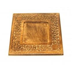 Piatto quadrato intagliato in legno nobile