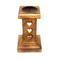 Wooden Candle Holder with Hearts 8,4 inch