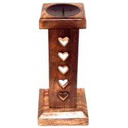 Porta candela in legno con intaglio cuori