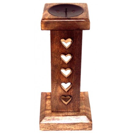 Candle holder in walnut h 28 cm - 11,2 inch