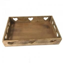 Vassoio quadrato intaglio cuori in legno nobile 38 cm x 38 cm