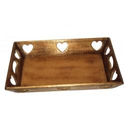 Walnusstablett oder Brotkasten 45 cm x 30 cm x 6,5 h, Dolfi Geschenke für Oma, Schnitzereien Gröden