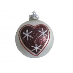 Pallina natalizia 9cm bianca e cuore a stelle