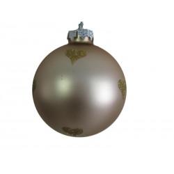 Pallina natalizia 9cm bianca e cuori oro