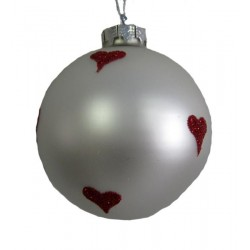 Pallina natalizia 9cm bianca e cuori rossi