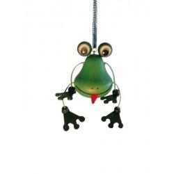 """Frosch aus Holz """"Hüpferlen"""" Schwingfigur mit Feder - 12 cm"""