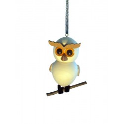 Wooden Owl with spring - Dolfi personalized Ornaments - Made in Italy