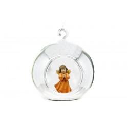 Palla di vetro con angelo scolpito in legno d'acero - colorato colori pastello