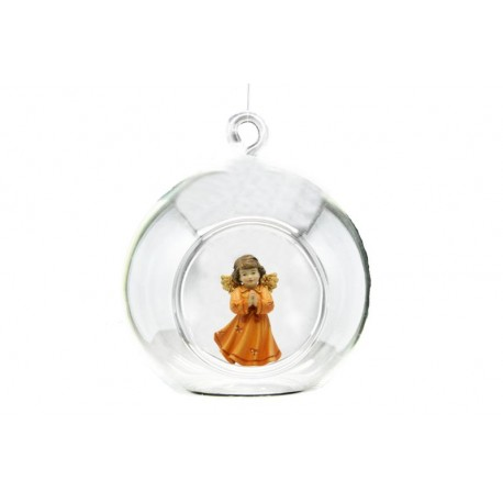 Christmas Ball with Angel in wood - color