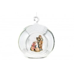 Cristal Ball with Holy Family carved in maple wood Anniversary Gifts for Parents from Daughter - oil colors